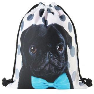 パグ 黒 犬 水玉 巾着袋 リュック バッグ お稽古 着替え レッスン かわいい(リュック/バックパック)