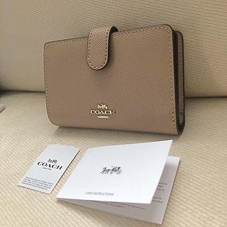 COACH - タグ付き新品★COACH 二つ折り財布 TAUPE トープ/グレージュ
