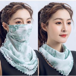 スカーフマスク 葉柄 冷感 フェイスカバー UVカット 新品未使用(バンダナ/スカーフ)
