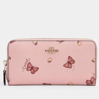 COACH - 激かわ★COACH ピンク長財布 蝶々