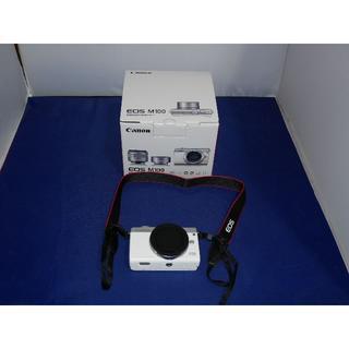 キヤノン(Canon)の試し撮りのみの使用 新品に近い CANON EOS M100 ボディ ホワイト(ミラーレス一眼)
