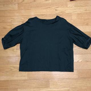 ユニクロ(UNIQLO)のユニクロ マーゼライズコットンスリーブT 五分袖 深緑(Tシャツ(半袖/袖なし))