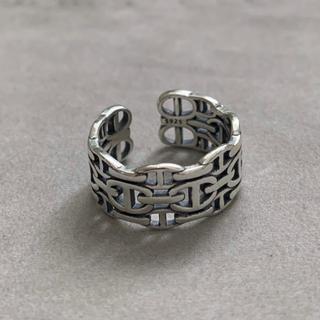 シルバー925 Hデザインチェーン平打ちリング  silver925(リング(指輪))