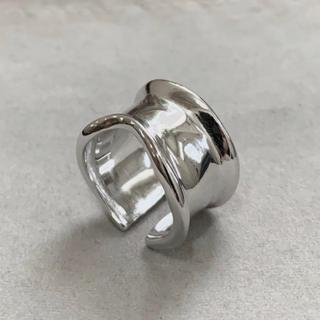 シルバー925 デザイン平打ちリング silver925 カーブ 指輪(リング(指輪))