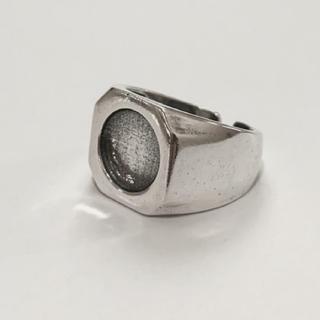 シルバー925  サークルカットスクエアリング 印台 カレッジリング(リング(指輪))