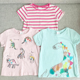 ネクスト(NEXT)のnext 女の子 恐竜 ボーダーTシャツ 3枚セット 2y92cm 90-95 (Tシャツ/カットソー)