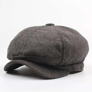 218 灰 キャスケット メンズ リンボーン柄(ハンチング/ベレー帽)