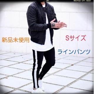 ★激安★秋冬 トラックパンツ 韓国ファッション ラインパンツ ジッパー付 黒S(チノパン)
