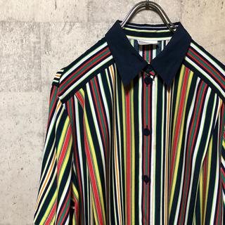 vintage マルチカラー ストライプシャツ ドイツ ユーロヴィンテージ(シャツ)