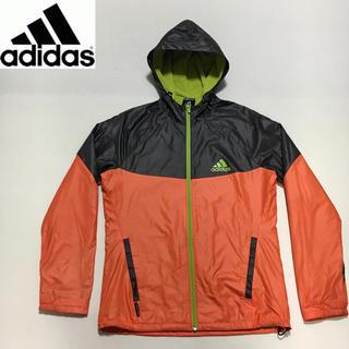アディダス(adidas)のアディダス★フロントジップ ナイロン パーカー オレンジ×ブラウン Sサイズ(ナイロンジャケット)