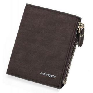 折り畳み財布 シンプル メンズ ダブルジッパー ファスナーカード 収納 (折り財布)