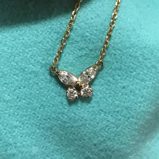 K18 PG バタフライダイヤモンドネックレス ペンダント(ネックレス)