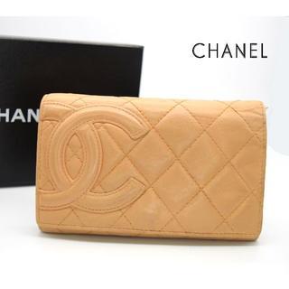 CHANEL - 《一点物》CHANEL カンボンライン 二つ折り財布 オレンジ ココマーク