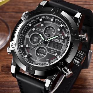 新品★日本未入荷★XlNEWデジタル&アナログ多機能腕時計 レザーベルト 防水(レザーベルト)