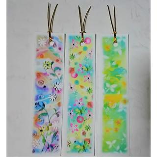 新緑と小花の栞(しおり) 3種のパステルアートのブックマーク(しおり/ステッカー)