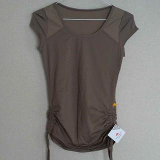 【お値下中】レディーススポーツシャツ ブラウン系 Sサイズ(ヨガ)