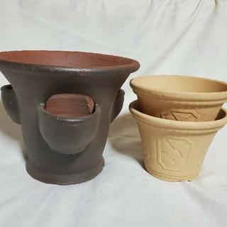 レトロ寄せ植え変形ストロベリーポット&三河焼石目調白焼6号2枚組セット(プランター)