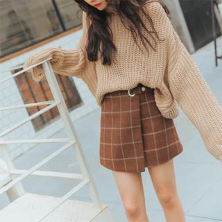 【ブラウンLsize】ちょー可愛い巻きスカート風チェック柄(ミニスカート)