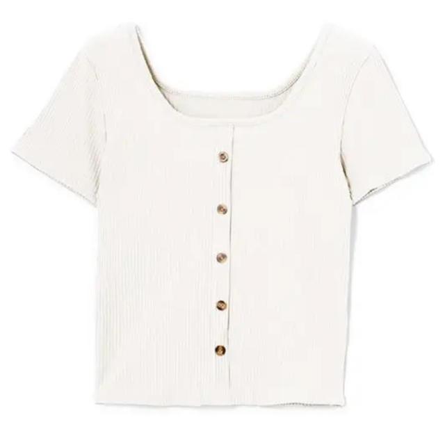 GRL(グレイル)の【GRL】フロントボタンリブニットトップス レディースのトップス(Tシャツ(半袖/袖なし))の商品写真
