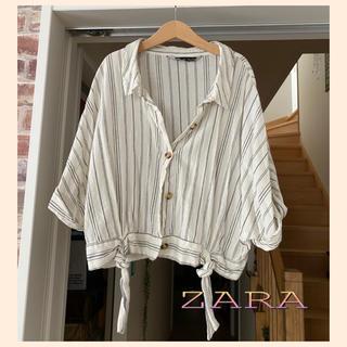 ZARA - ZARA♥ リネン混 ストライプ ショート丈シャツトップス 羽織りにも