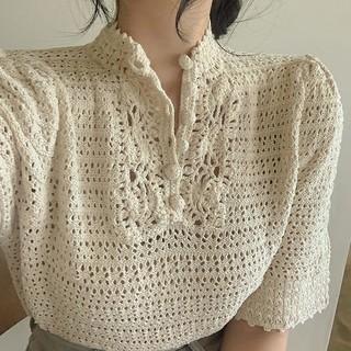 dholic - くるみボタン 透かし編み ニット