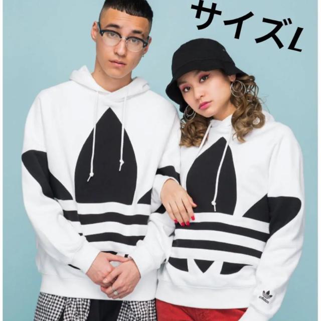 adidas(アディダス)のサイズL ビッグ トレフォイル パーカー アディダスオリジナルス ホワイト メンズのトップス(パーカー)の商品写真