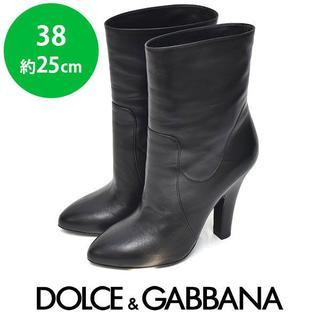 ドルチェアンドガッバーナ(DOLCE&GABBANA)のほぼ新品❤ドルチェ&ガッバーナ レザー ショートブーツ 38(約25cm)(ブーツ)