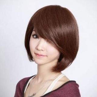 ウィッグ ショート ボブ 耐熱 ななめ 前髪 長め サラサラ 巻き髪 ネット付き(ショートカール)