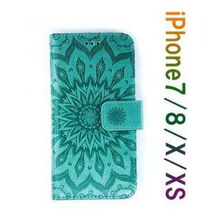 新品!iPhone7/8 アイフォンケース 手帳型 エスニックサン(iPhoneケース)