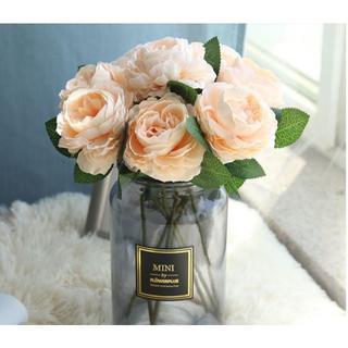 アーティフィシャルフラワー 薔薇 ローズ7本×2束 シャンパン 造花 (その他)