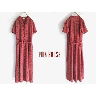 ピンクハウス(PINK HOUSE)の希少 ピンクハウス ベルト付 ドット柄 ロングシャツワンピース 赤 ビンテージ(その他)