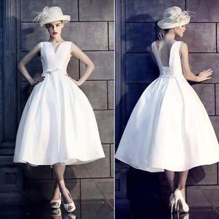 ウエディングドレス ホワイト フレアスカート ミモレ丈 イブニン(ロングドレス)