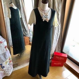カネコイサオ(KANEKO ISAO)のカネコイサオ 裏毛ジャンパースカート 黒色(ロングスカート)