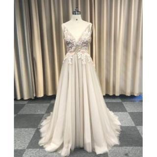 高品質! イブニングドレス ミニトレーン/短トレーン 深Vネックド(ウェディングドレス)