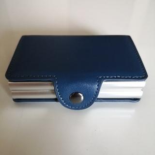 スライド式カードケース スキミング防止 ネイビー(マネークリップ)