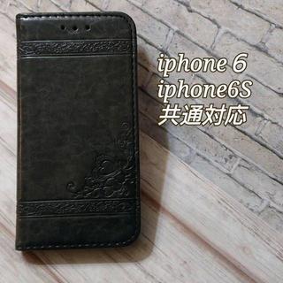 手帳型ケース レトロB レザー調 ダークグレー iPhone6/6S(iPhoneケース)