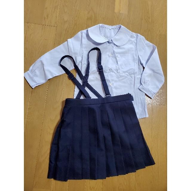 女の子プリーツスカート&ブラウス120cmセット小学生紺制服 キッズ/ベビー/マタニティのキッズ服女の子用(90cm~)(ドレス/フォーマル)の商品写真