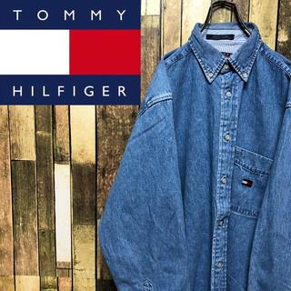 TOMMY HILFIGER - 【トミージーンズ】フラッグ刺繍ロゴポケット・ロゴタグ☆デニムシャツ 90s