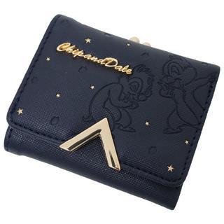 ディズニー(Disney)のDisney ディズニー チップとデール 三つ折り財布 がま口付き★ネイビー新品(財布)