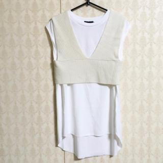 ニットビスチェとTシャツのセット ホワイト