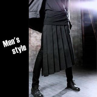 スカート メンズ ロング 巻きスカート ロック パンク V系 フラップ 黒 衣装(その他)