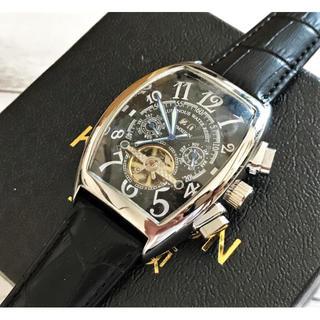 """輸入ブランド""""KIMSDUN""""ブラック/機械式トノウ型メンズ腕時計レザーベルト(レザーベルト)"""