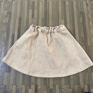 ジーユー(GU)のGU キッズ 子ども スカート 膝丈 ベージュ スエード調 110㎝(スカート)
