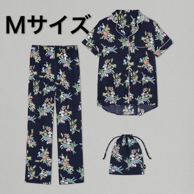 GU(ジーユー)のGU ケイタマルヤマ パジャマ フラワー ネイビー Mサイズ 紺色 花柄 新品 レディースのルームウェア/パジャマ(パジャマ)の商品写真