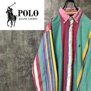 POLO RALPH LAUREN - 【レア】ポロバイラルフローレン☆ワンポイント刺繍パステルマルチストライプシャツ
