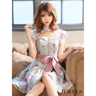 ジュエルズ(JEWELS)の新品 花刺繍/デコルテカット/フレアドレス(ミニドレス)