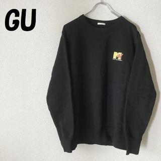 ジーユー(GU)の【人気】GU/ジーユー MTVワンポイントロゴ トレーナー ブラック サイズM(スウェット)