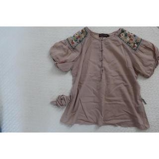 アンティックバティック(Antik batik)のantik batik お花刺繍 チュニック モカベージュ(シャツ/ブラウス(半袖/袖なし))