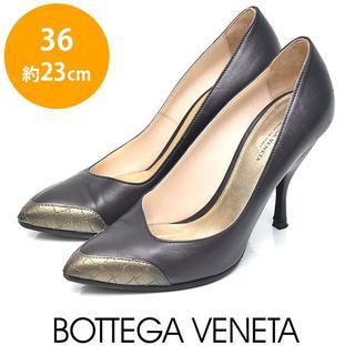ボッテガヴェネタ(Bottega Veneta)のボッテガヴェネタ トゥ切り替え シャイニーパンプス 36(約23cm)(ハイヒール/パンプス)