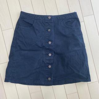 ジーユー(GU)の黒 デニム 前ボタン スカート(ミニスカート)